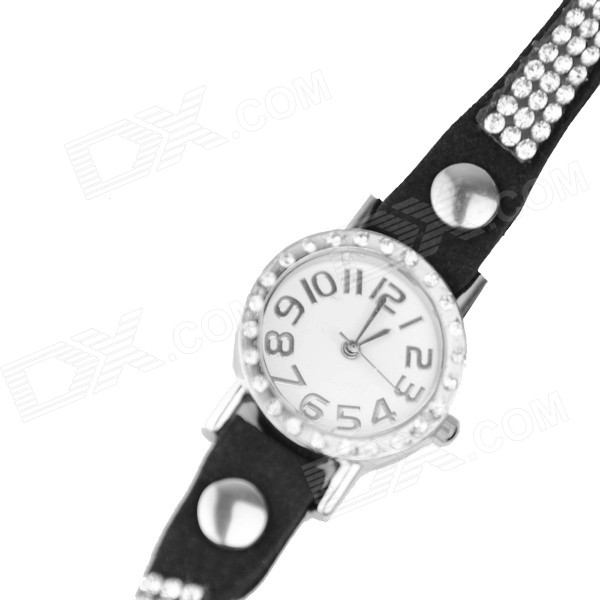 Women's Stylish Zinc Alloy + Rhinestones Quartz Analog Bracelet Watch - Black + Silver (1 x 377) stylish bracelet band quartz wrist watch golden silver 1 x 377