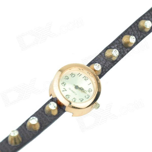 Women's Punk Rivet + Rhinestones + PU Band Analog Quartz Wrist Watch - Black + Golden (1 x 377)