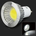 LED GU10 3W 300lm 6500K COB LED White Light Spotlight - White + Silver (AC 85~265V)
