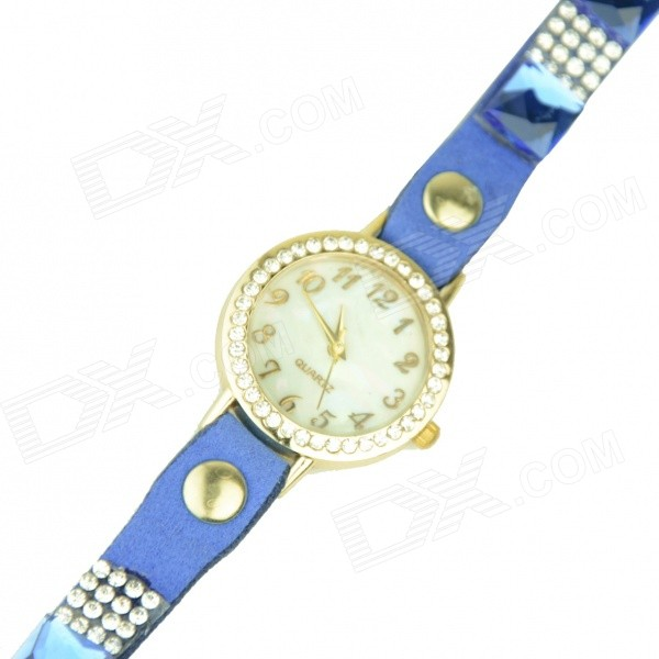 Women's Rhinestones Decorated Flocking Band Quartz Analog Bracelet Watch - Blue + Golden (1 x 377) split leather band analog quartz watch handwork retro style bracelet for women 1 x ag4