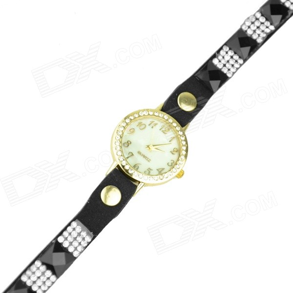 Women's Rhinestones Decorated Flocking Band Quartz Analog Bracelet Watch - Black + Golden (1 x 377) split leather band analog quartz watch handwork retro style bracelet for women 1 x ag4