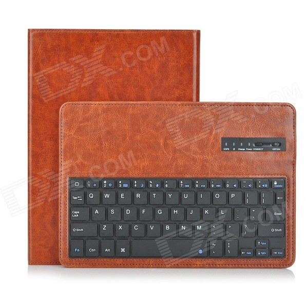 Bluetooth v3.0 64-Key Keyboard w/ Ultra-Slim PU Case for IPAD AIR 2 - Brown