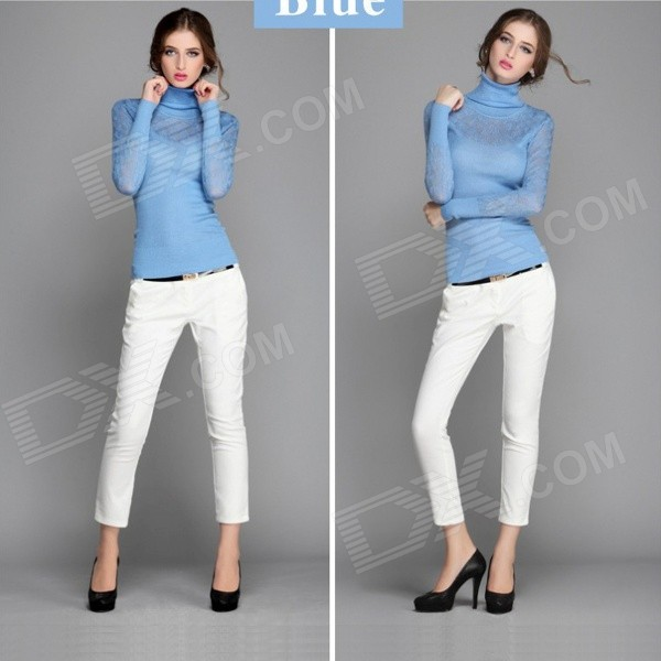 AC50020 Women's Fashion Knitted Thin Cotton High-Necked Sweater - Light Blue