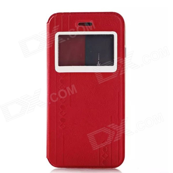 Fashionable PU Leather Case w/ Viewing Window for IPHONE 6 - Red sldpj stylish ultra thin protective pu leather case cover w visual window for iphone 4 4s red