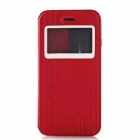 Fashionable PU Leather Case w/ Viewing Window for IPHONE 6 - Red