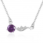 Women's Fashionable Zircon + Silver Plated Pendant Necklace - Silver + Purple