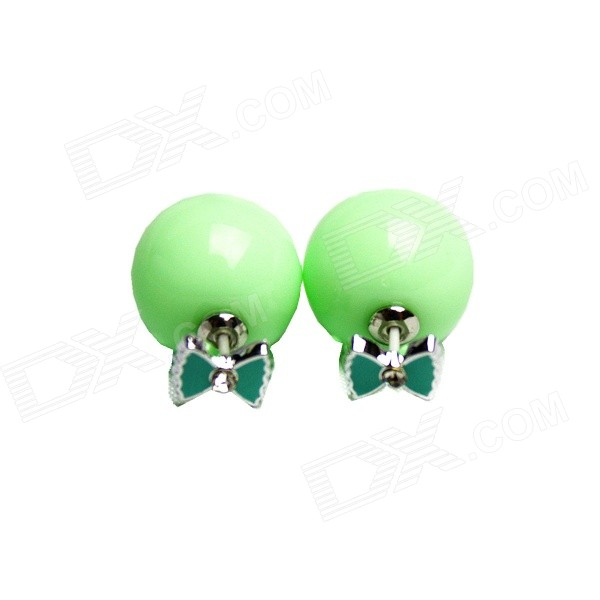 Fashionable Two-way Wearing Acrylic Ear Stud Earring - Light Green (2 PCS)