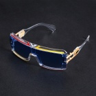 Personalized Windproof UV400 Protection Conjoined PC Frame Blue Lens Sports Sunglasses
