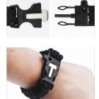 Outdoor Camping Whistle + Fire Starter Survival Bracelet Rope - Preto