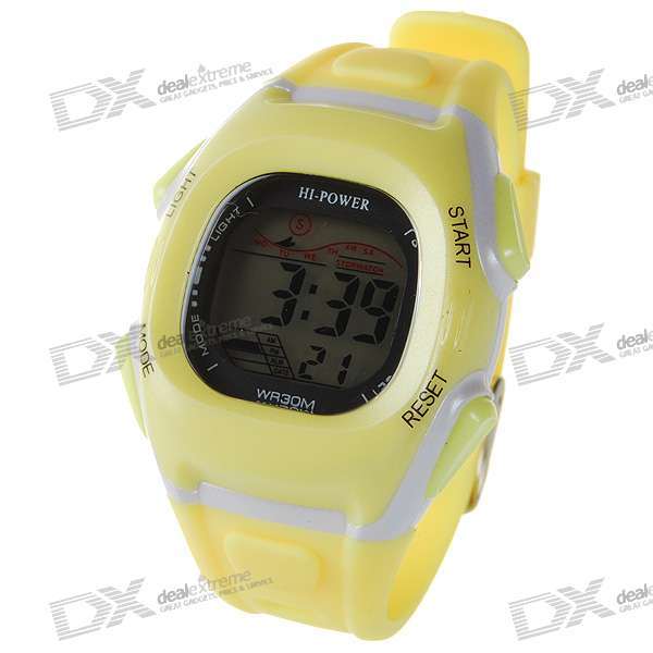 Trendy Digital Water Resist Watch with Colorful Backlight - Yellow (1*CR2025)