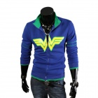 Men's Fashionable Stand Collar Zippered Fleece Coat - Blue (XXL)