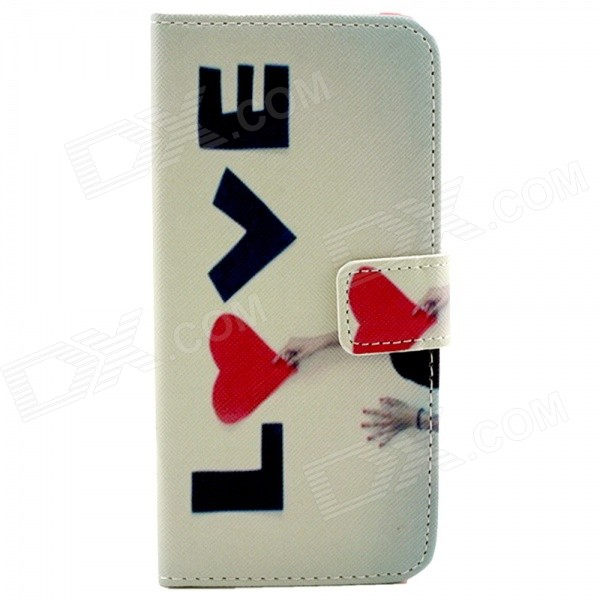 LOVE Pattern Flip-open PU Leather Case w/ Stand + Card Slot for IPHONE 6 - White + Red настенные часы hermle 70447 030341