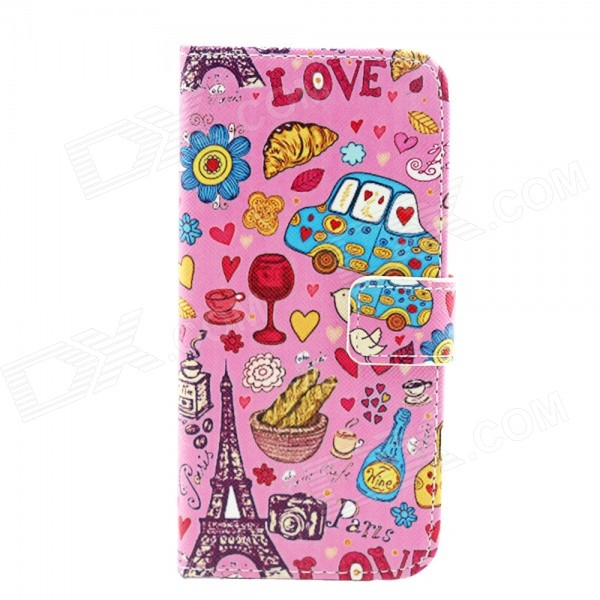 Love in Paris Pattern Flip-open PU Leather Case w/ Stand + Card Slot for IPHONE 6 - Pink protective flip open pu case w stand card slot for iphone 5 5s pink
