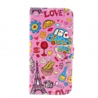 Love in Paris Pattern Flip-open PU Leather Case w/ Stand + Card Slot for IPHONE 6 - Pink