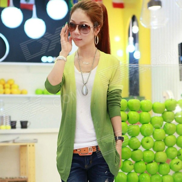 AC50011 Women's Candy Colorful Long Sleeve Thin Knitwear Cardigan Sweater - Green