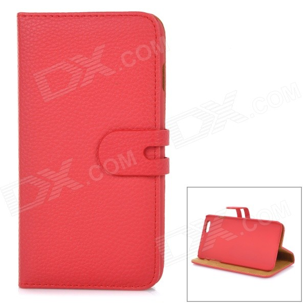 Detachable Protective Flip-Open PU Leather Case w/ Stand + Card / Money Slot for IPHONE 6 PLUS - Red leopard pu leather wallet card slot stand flip case for iphone 6s plus