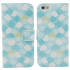 Clouds Pattern Flip-open PU Leather Case w/ Stand + Card Slot for IPHONE 6 - White + Blue