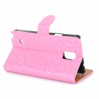 Protective Leather Case w/ Stand for Samsung Galaxy Note 4 - Pink