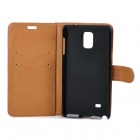 Protective PU Leather Case w/ Holder + Card Slot + Magnetic Button for Samsung Note 4 - White