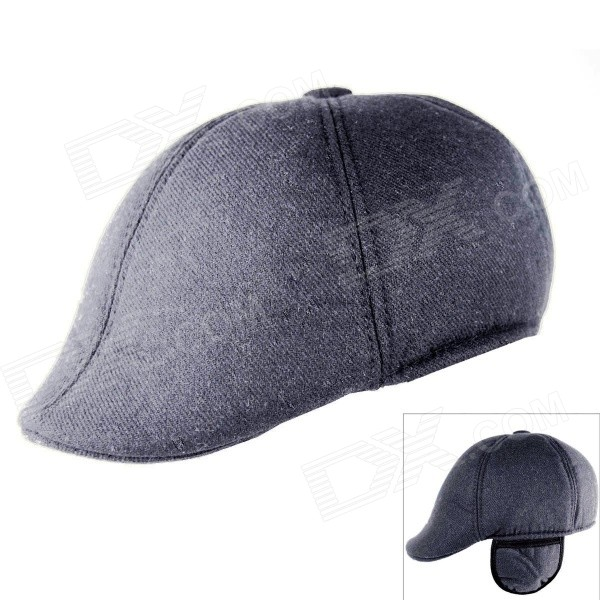 Fashionable Autumn Winter Peak Cap Hat w/ Warm Earflaps - Dark Grey gift children knitting wool hat cute keep warm rabbit beanie cap autumn and winter hat with earflaps whcn