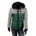 A73 Men's Autumn and Winter Fight Color Glossy Fur Collar Hooded Jacket - Dark Green (XL)