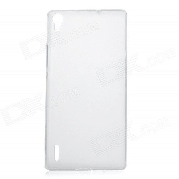 Protective Ultra-Slim TPU Back Case Cover for Huawei P7 - White + Transparent