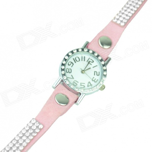 Women's Stylish Zinc Alloy + Rhinestones Quartz Analog Bracelet Watch - Pink + Silver (1 x 377) stylish bracelet band quartz wrist watch golden silver 1 x 377