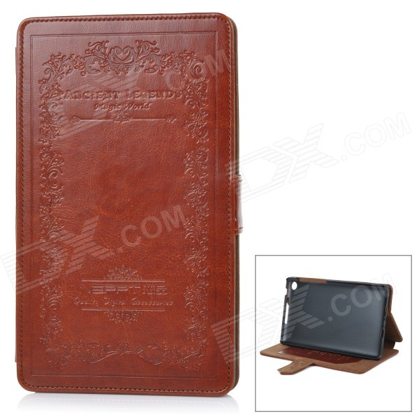 Retro Style Protective PU Leather Case w/ Stand for Google Nexus 7 Second - Brown 360 degree rotating protective litchi pattern case w stand for google nexus 7 ii chocolate