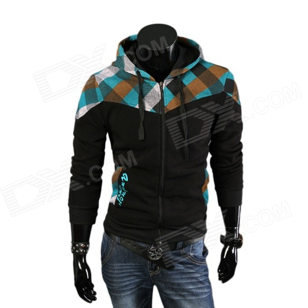 2014 Autumn & Winter New Men's Fashionable Slim Plaid Hooded Fleece Coat - Black (XXL)
