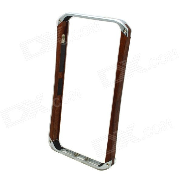 Lithium Alloy + Wooden Bumper Frame w/ Volume Button Shell Case for IPHONE 5 / 5S s what ultra thin lithium alloy bumper frame w volume button sheel for iphone 5 5s golden