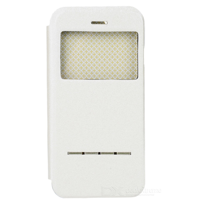 "Protective PC + PVC Back Case w/ View Window + Holder for IPHONE 6 4.7"" / 6S - White"