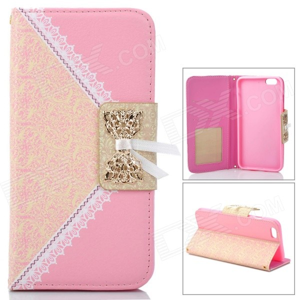 Stylish Purse Style Protective Flip-Open PU Case Cover w/ Chain for IPHONE 6 PLUS - Pink