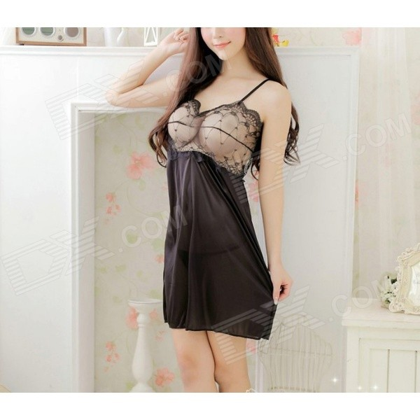 7007# Women's Sexy Lace Sleep Dress w/ T-Back - Black no spots black
