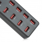BYL-3010C High Speed ​​USB 2.0 10-Port Hub w / Switch - Preto + Vermelho (Plug UE)
