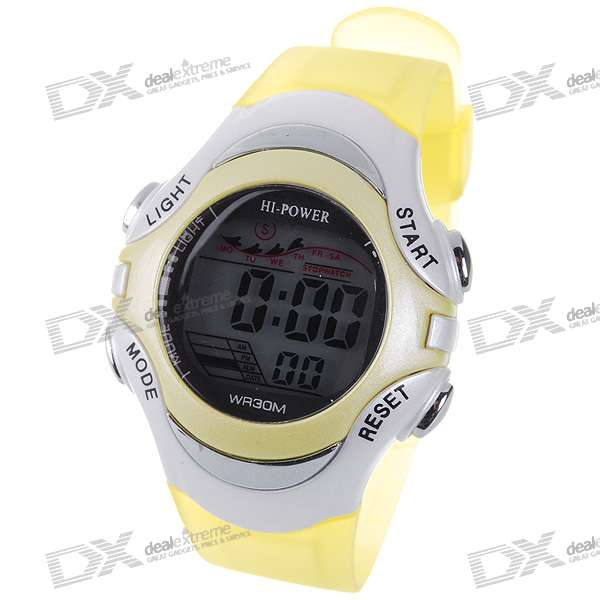 Trendy Digital Water Resist Watch with Colorful Backlight - Translucent Yellow (1*CR2025)
