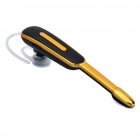 Portable Mini Bluetooth V3.0 Ear-hook Earphone w/ Microphone / USB Charging Cable - Black + Gold