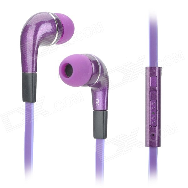 Stylish In-ear Earphones w/ Microphone / Volume Control - Purple (3.5mm Plug / 127cm)