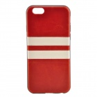 "Horizontal Lines Pattern TPU + PU Back Case for IPHONE 6 4.7"" - Red + White"