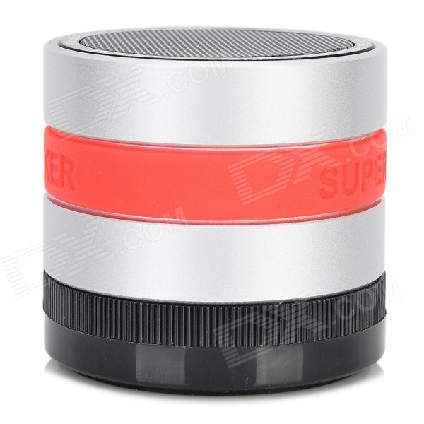 Portable 3W Bluetooth V3.0 Speaker w/ Microphone / FM / TF / Mini USB - Silver + Black bluetooth v4 0 super bass portable speaker w tf fm microphone black red