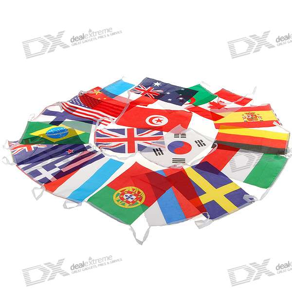 International Countries Small Bunting Flags String (18-Countries)