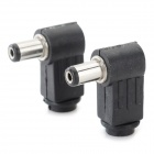DIY 90 Degree DC 5.5 x 2.1mm 5521 Female Plug - Black (2 PCS)