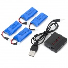 X4-004 4 x 3.7V 380mAh Li-polymer Batteries + 1-to-4 Balance Charger Set - Black + Blue