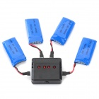 X4-004 4*3.7V 380mAh Li-polymer Batteries + Charger Set - Black + Blue