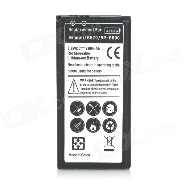 Replacement Backup 3.85V 2000mAh Lithium Polymer Battery for Samsung Galaxy S5 Mini - Black