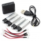 X4-011 4 x 3.7V 200mAh Li-polymer Batteries + 1-to-4 Balance Charger + 4 x Converting Cables Set