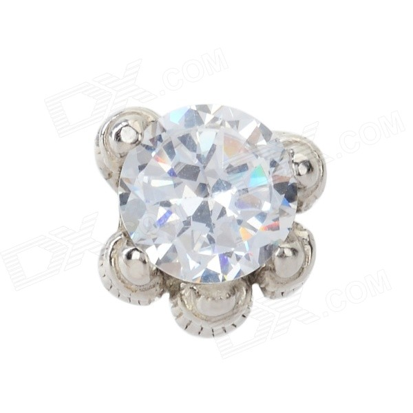 Men's Fashion 925 Silver Rhinestone Inlaid Ear Stud - Silver