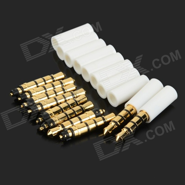 DIY Gold-plated 3.5mm Audio Plugs for Earphones - White + Gold