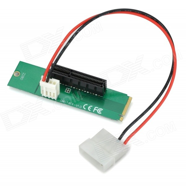 M.2 NGFF to PCI-E X4 Adapter Card - Green + Black ssd add on cards 2 5 enclosure adapter u 2 sff 8639 to m 2 pci e i f with cable ngff convert card