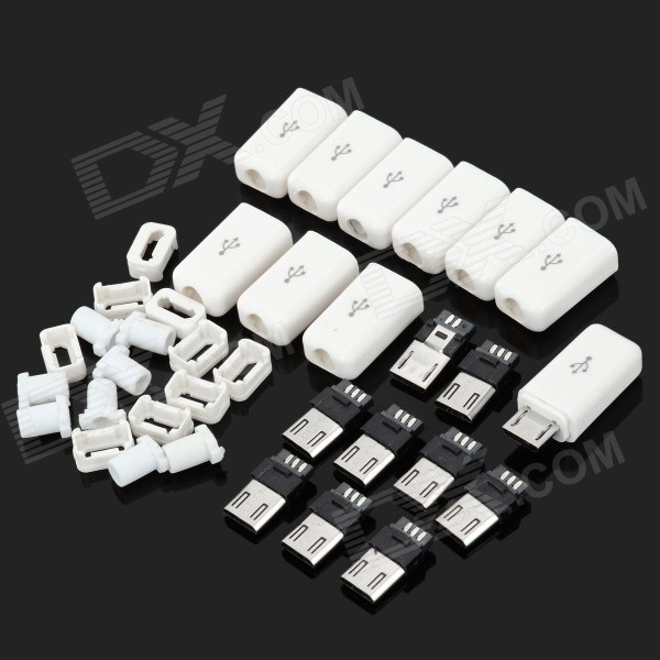 DIY Plastic + Steel Micro USB Female Plugs Set - White diy plastic popsicle mold set white