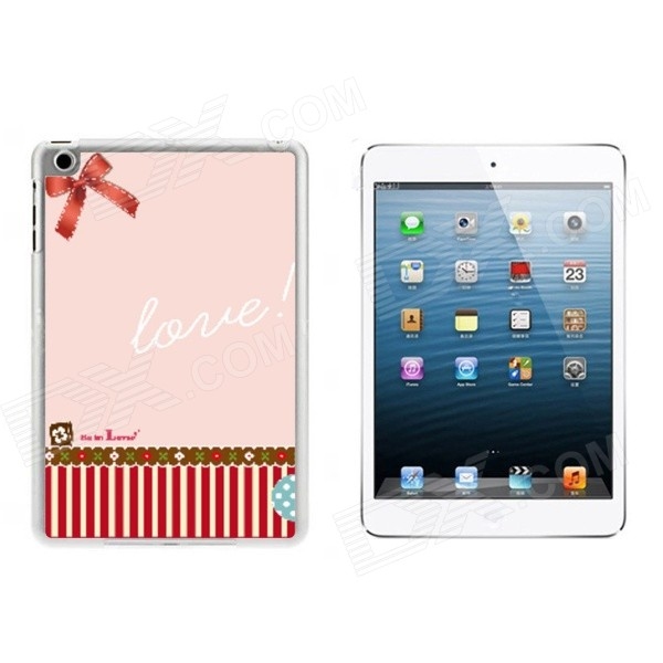 Sweet Bowknot Pattern Plastic Back Cover Case for IPAD MINI 1 / 2 / 3 -Pink + Red sweet bowknot pattern hard back cover pc case for iphone 6 translucent pink